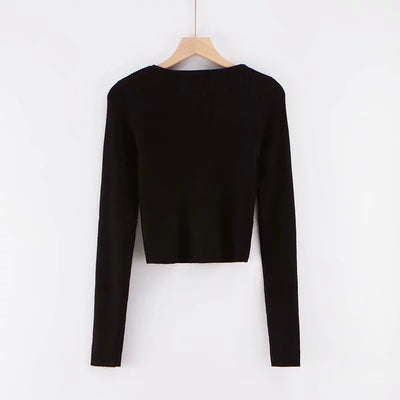 2019 Women Knitted Single-breasted Cropped Cardigan Sweater Vintage V neck Exposed navel Short Knitwear Long sleeve Jumper Tops