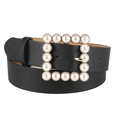 Serpentine Skin Leather Belt Women's Wild Solid Color Belt Alloy Square Buckle Inlaid Pearl Decoration Sweet Style Belt Women