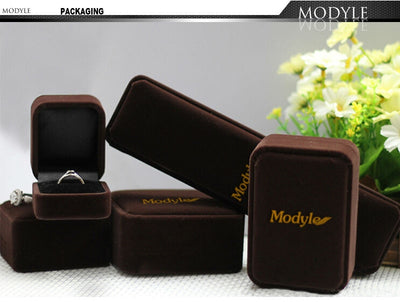 Modyle New Fashion Cocktail Party Ring Set Square-cut Black Cubic Zirconia Black Gold Color Fashion Jewelry