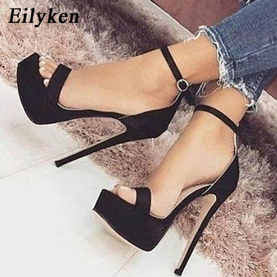 Gladiator Buckle Strap Sandals Shoes Women Sandals Pumps Thin heels Club Party Sandals Pumps Classics Black size 35-40