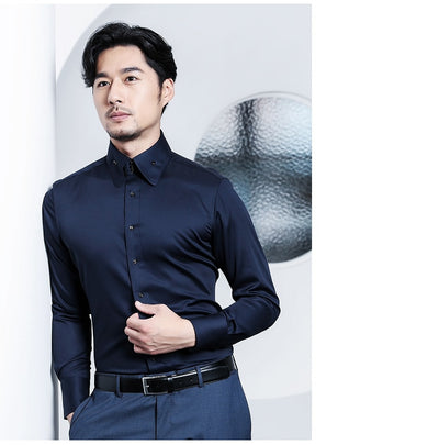 Casual Mens Dress Shirts Long Sleeve Black Luxury Party Business Fashion Silk Cotton Slim Fit High Collar Stage Western Shirt