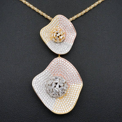 Delicate Luxury Gemoetric Super AAA Cubic Zirconia Zirconia Party Wedding DUBAI Pendant Necklace And Earring Jewelry Set