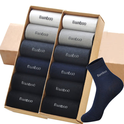 20PCS=10Pair Men Bamboo Socks Brand Guarantee Anti-Bacterial Comfortable Deodorant Breathable Casual Business Men meias for gift