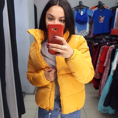 FORERUN Fashion Bubble Coat Solid Standard Collar Oversized Short Jacket Winter Autumn Female Puffer Jacket Parkas Mujer 2019
