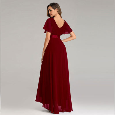Beauty-Emily Simple Evening Dresses Elegant V-Neck Ruffles Chiffon Formal Evening Gown Party Dress Robe De Soiree 2019