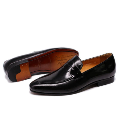 FELIX CHU Men Penny Loafers Leather Shoes Genuine Leather Elegant Wedding Party Casual Mens Dress Shoes Brown Hand-Painted Flats