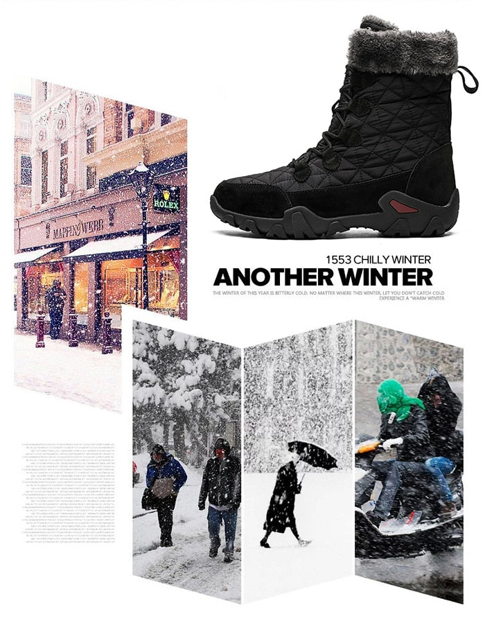 Winter Snow Boots Men Waterproof Shoes with Fur Plush Warm Men Boots Outdoor Footwear Comfortable Casual Shoe Men Erkek Ayakkabi
