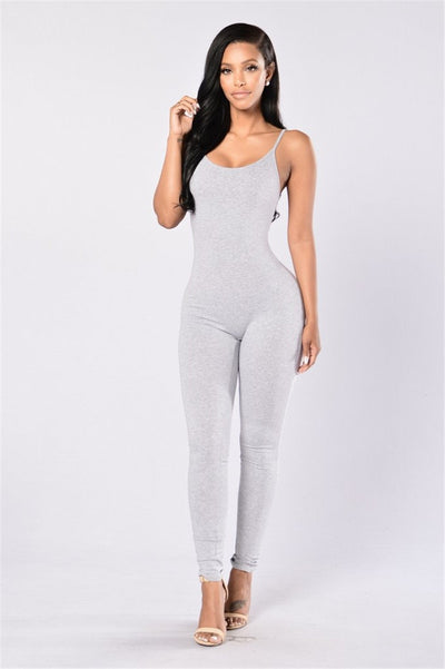 Summer Women Slim Bodycon Jumpsuits Sexy Spaghetti Strap Skinny Elastic Black White Long jumpsuit Casual Overalls for women