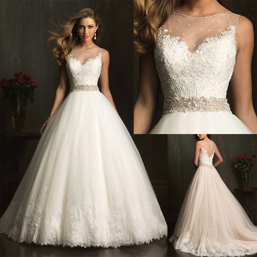 Wedding Dress For Women With Lace A-line Floor Length Prom Gowns Plus Size For Bride