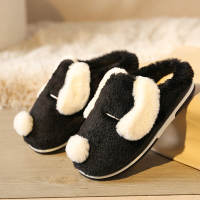 YMECHIC 2019 Fashion Cute Cartoon Dog Furry Slippers Indoor House Flat Womens Plush Mules Shoes White Gray Warm Ladies Slides