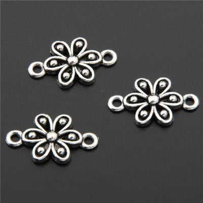 50pcs Ancient Silver Flowers Connector Spacer Charm For Jewelry Making Supplies Bracelet Maker Metal Fittings DIY Material A2703