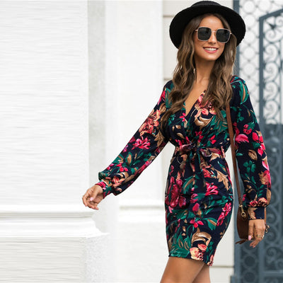 SHEIN V Neck Floral Print Casual Belted Pencil Dress Women Autumn Streetwear High Waist Multicolor Long Sleeve Short Dresses