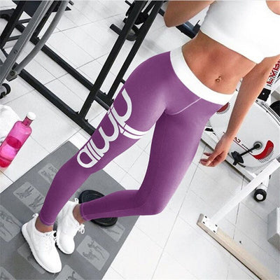 Pants women 2019 new fashion letters print high elastic waist skinny sports hot leggings thin fitness female pant vestido LDM168