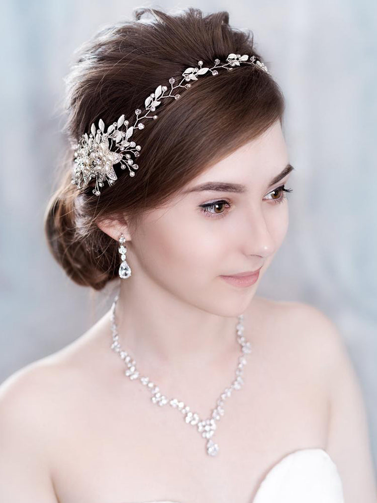 Trendy Flowers Pearl Crystal Headband Wedding HairBand Bridal Hair Accessories Headpiece Women Wedding Hair  Jewelry Handmade