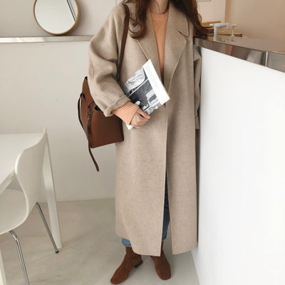 LANMREM 2019 New Winter Women Clothes Turn-down Collar cashmere Waist Belts Adjust Loose Woolen Coat WJ74912 Warm Jacket