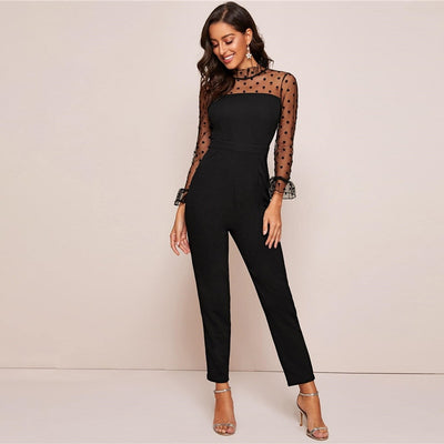 SHEIN Black Ruffle Trim Polka Dot Mesh Elegant Jumpsuit Women Spring Stand Collar Flounce Sleeve Button Back Sheer Jumpsuits