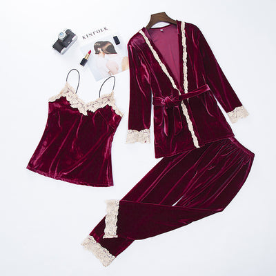 Women New Velvet 3PCS Lace Sleepwear Set Autumn Pajama Suit Sexy Floral Trim Nightwear Bride Wedding Robe Intimate Lingerie XXL