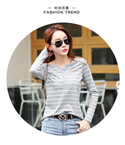 T Shirt Women 2020 Summer Top Shirts V-neck Short Sleeve Casual tshirts White Strip T-Shirt  Plus Size Cotton Tee Shirt Femme #T