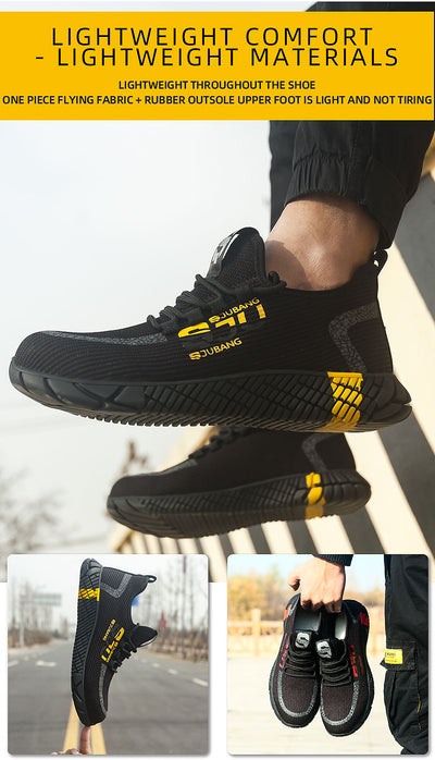 JACKSHIBO Work Safety Shoes For Men Breathable Air Mesh Work Boots Steel Toe Cap Anti-Smashing Construction Safety Work Sneakers
