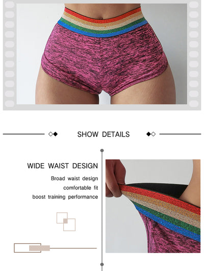 Sexy Workout Pocket Shorts Rainbow Gym Shorts Women Sport Shorts Femme Short Deportivo Mujer Ropa Mallas Spandex Fitness Shorts