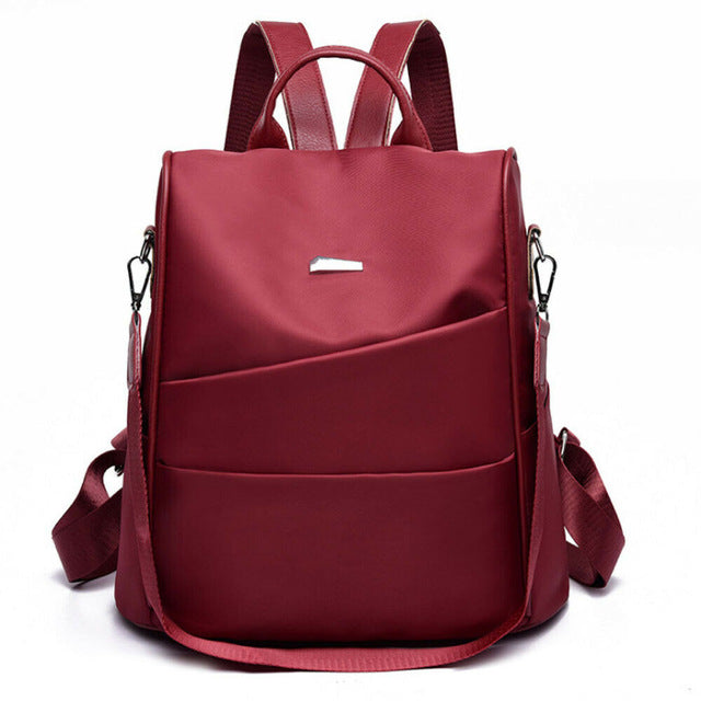 Female anti-theft backpack fashion solid multi-function large capacity school bag shoulder bag