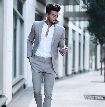Casual Grey Men Suits Fashion Street Smart Business Male tuxedo Summer Beach Wedding Suits For Men Prom Party Best Man Suit 2PCS