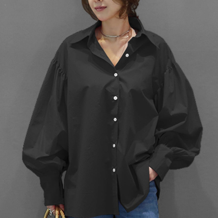 LANMREM 2020 Spring Summer Tide Shirt For Famale New Fashion Casual Women Loose Lantern Long Sleeve Lapel Solid Color Top TC173