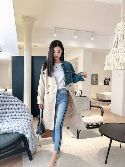 LANMREM 2020 New Fashion Spring Double Breasted Patchwork Denim Turn-down Collar Full Sleeve Casual Women Windbreaker YE53712