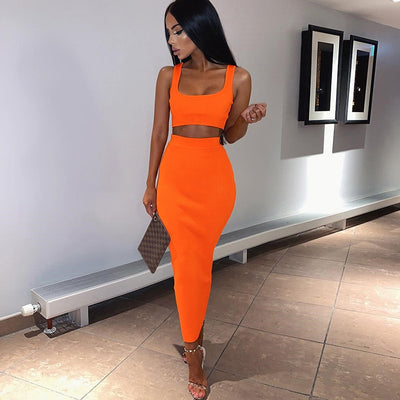 neon ribbed knitted women two piece matching co ord set crop top midi skirt sexy festival party 2019 winter clothing