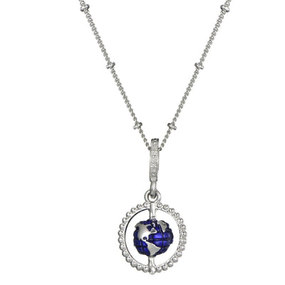 Hot Sale Blue Enamel Globe Dangle Charms Necklace Fit Original Brand Necklace For Women Tourism Jewelry Christmas Gift