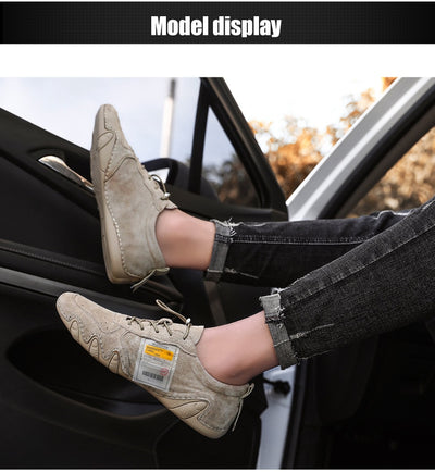 Plus Size Suede Leather Shoes Men Loafers Octopus Casual Leather Shoes Soft Driving Shoes Men Flats Walking Lace-Up Man Footwear