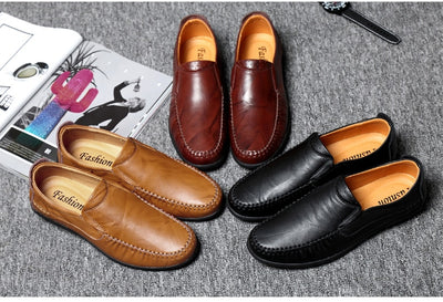 MVVT Quality Split Leather Shoes Men Loafers Fashion Air Hole Summer Casual Shoes Solid Flats Men Slip-On Business Men Shoes