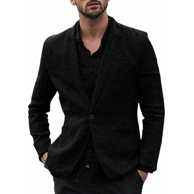 Men's Stylish Casual Linen Blazer Jacket One Button Lightweight Groomsmen Tuxedo Jacket For Beach Wedding Business Wear
