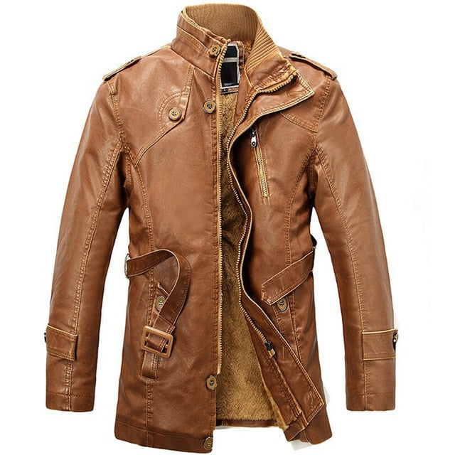 Leather Jacket Men Long Wool Stand Collar Coats jaqueta de couro Men's PU Leather Motocycle Jackets Outwear Trench Parkas 4XL