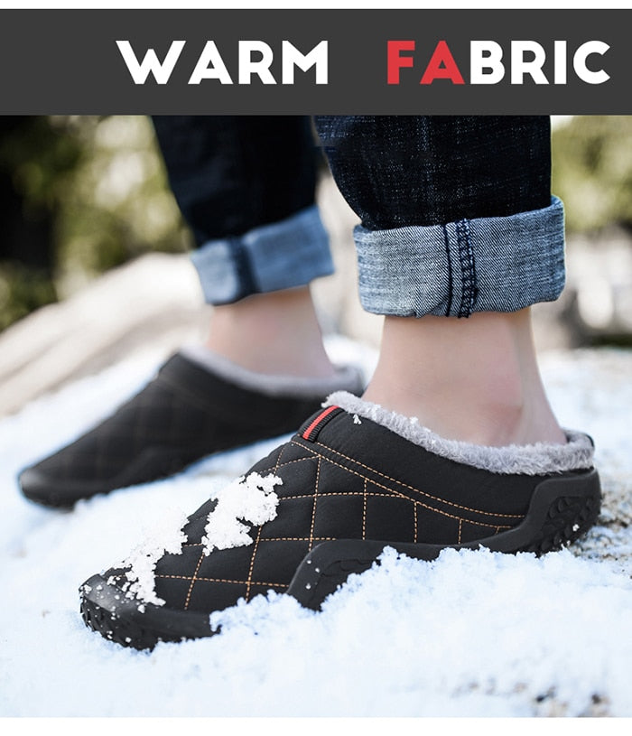 Big Size 39-48 Lazy Cotton Slippers Men Winter Outdoor Men Shoes WaterProof Cold-Proof Casual Shoes Men Plush Warm Man Footwear