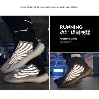 Color change tide men's sports shoes comfortable breathable flying woven men's casual shoes cushioning non-slip running shoes