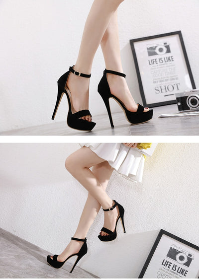 Eilyken Black Gladiator Buckle Strap Platform Sandals Women 2020 Summer Pumps Thin High Heels Club Party Shoes Ladies Sandalias
