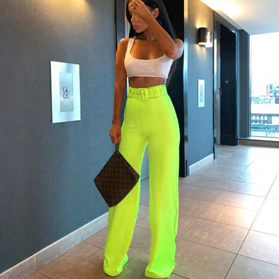 Solid Loose Casual Wide Leg Pants Women 2019 New High Waist Workwear Feminina Fashion Fluorescent Casual Trousers Feamle