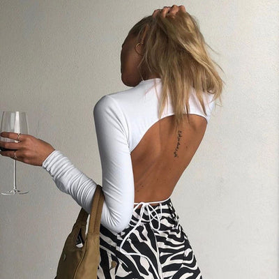 LVINMW Solid Lace Up Hollow Out O Neck Long Sleeve T Shirt 2019 Autumn Women Backless Elastic Slim Crop Top Female Streetwear