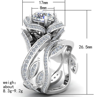 UFOORO   Purpal/Black/Greeb/Blue/Red Charm Flower Zircon Engagement Rings Sets for Women Wedding Jewelry Anel Valentine Gift