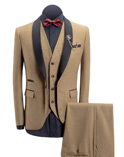 Mens Tailor Made Slim Fit Red Suits For Men Retro Wool Brown Tweed Wedding Dress Lapel Mens 3 Piece Suit (Blazers+Vest+pants)