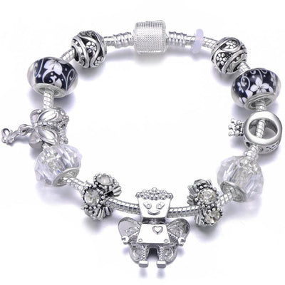 Mickey Trojan Dangle DIY Charm Bracelet With Silver Plated Snake Chain Brand Bracelet for Women Jewelry Gift