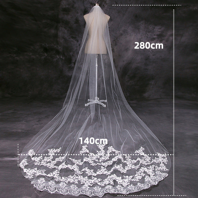 4 Meter White Ivory Cathedral Wedding Veils Long Lace Edge Bridal Veil with Comb Wedding Accessories Bride Veu Wedding Veil