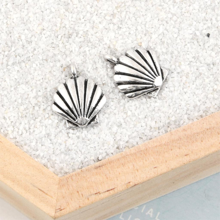 40Pcs Antique Silver Summer Shell Charms Nautical Beach Pendant Making Jewelry Diy Handmade Accessories 17X14mm A2053