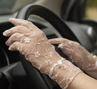 Spring summer women's Lace sunscreen gloves lady's anti-uv slip-resistant driving gloves sexy transparent lace gloves R1069