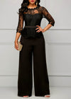 Lace Jumpsuits for women 2020 Spring Sexy High Waist Patchwork 3/4 Sleeve One Piece Peplum Rompers with Long Wide Leg Pant Black
