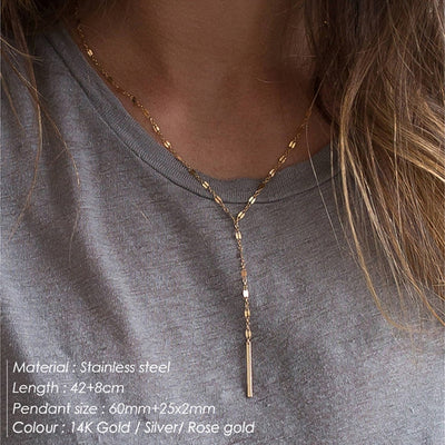 2020 Fashion Long Stick Pendant Necklace Choker Handmade Chain Strip Necklace for Women girl Kolye Bijoux Collares Collier Femme