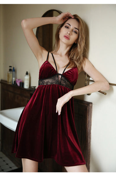 Wine Red Female Sense Nightdress Sexy Lingerie Straps Nightdress Low-cut V-neck Sexy Sleepwear Womens Nightgown Sleepwear