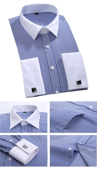 Men's Dress Shirts Loose French Cuff Regular fit Luxury Striped Business Long Sleeve Cufflinks Social Pluse Size Men Shirt 6XL
