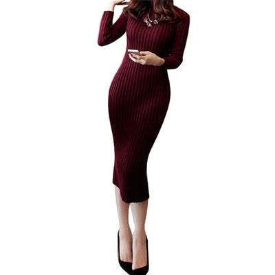 Sweater Dress for women long sleeve knitted red black white winter female Elastic Office Warm Dresses For 40kg-70kg